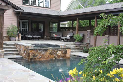 case study ringgold pool and patio Weatherford horse friendly homes   large patio with outdoor kitchen, even a pool table under balcony for  pieces throughout the house such as the stair case,.